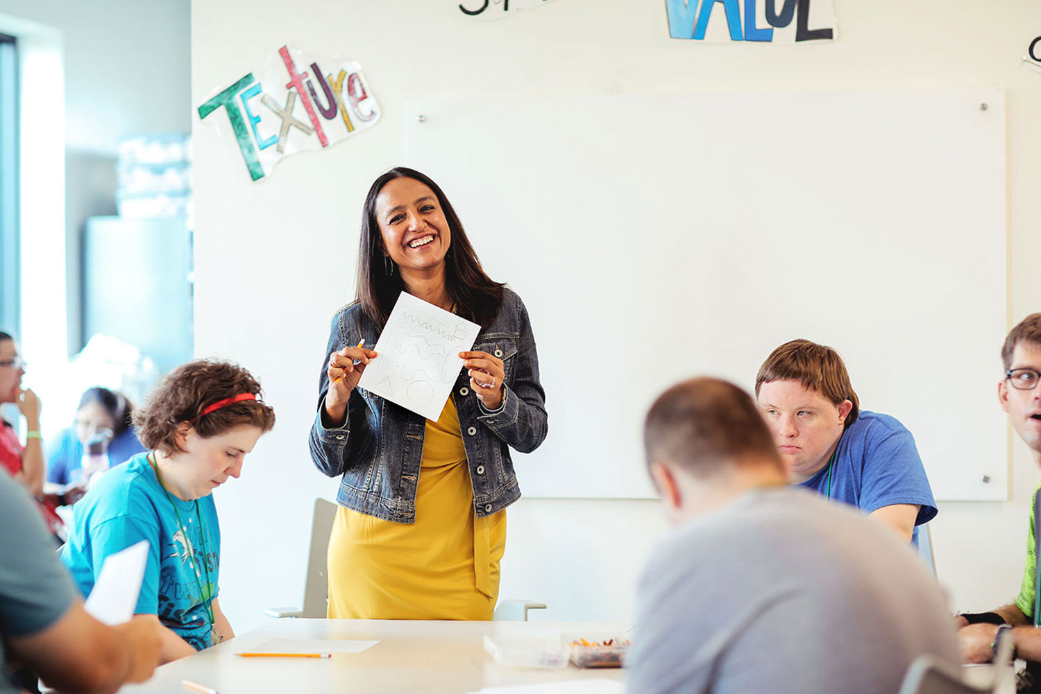 Pooja Singhania with an art class at My Possibilities // photos Kathy Tran