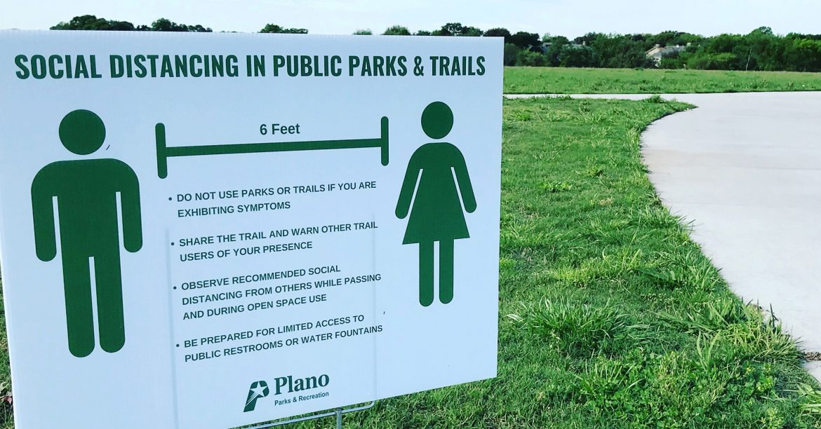 Distancing signs have been installed in Plano parks // courtesy Plano Parks and Recreation
