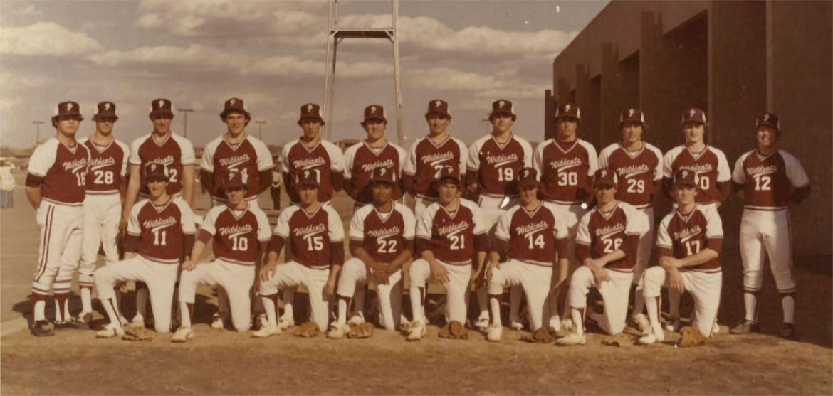 Coach Terry Tuck stands at the top left corner of the 1978 Plano Wildcats varsity baseball team // Steve Ulmer collection, Genealogy Center, Plano Public Library