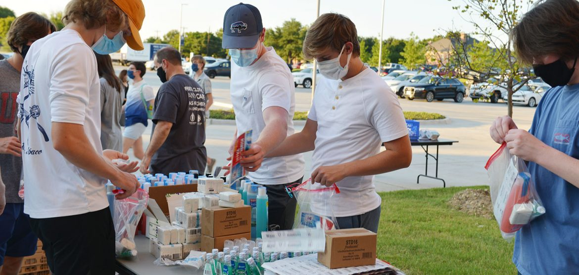 Friends gather for a service project in honor of Christian Sanchez // photos courtesy The Storehouse of Collin County